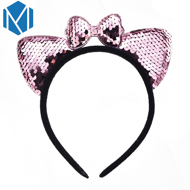 Womens Shiny Sequins Cat Hair Bands Cute Animal Ears Headband Lovely Bow Hair Accessories Girl child Party/Festival/Hairbands