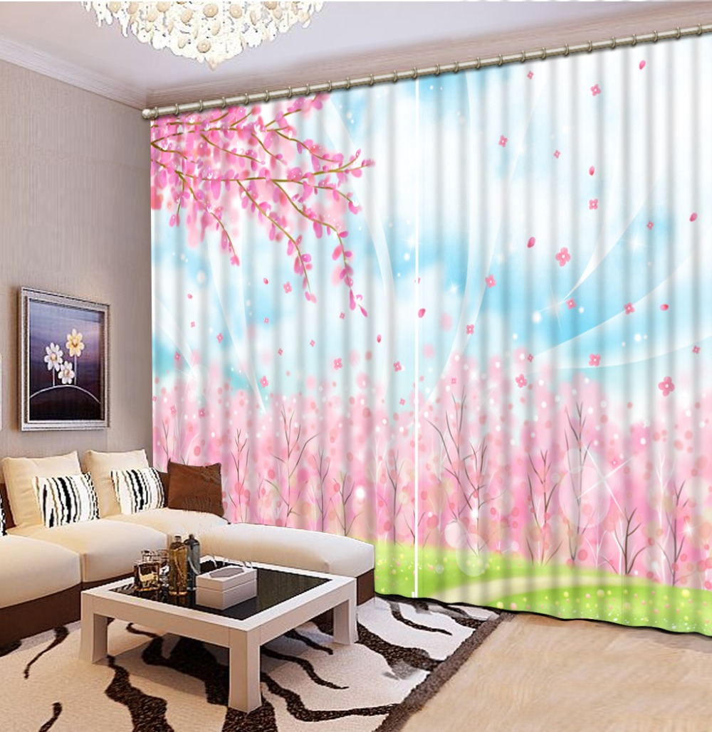 Kitchen Curtains Stereoscopic Pink Peach Landscape Curtains Printing Photo  3D Window Curtain Home Decor(China