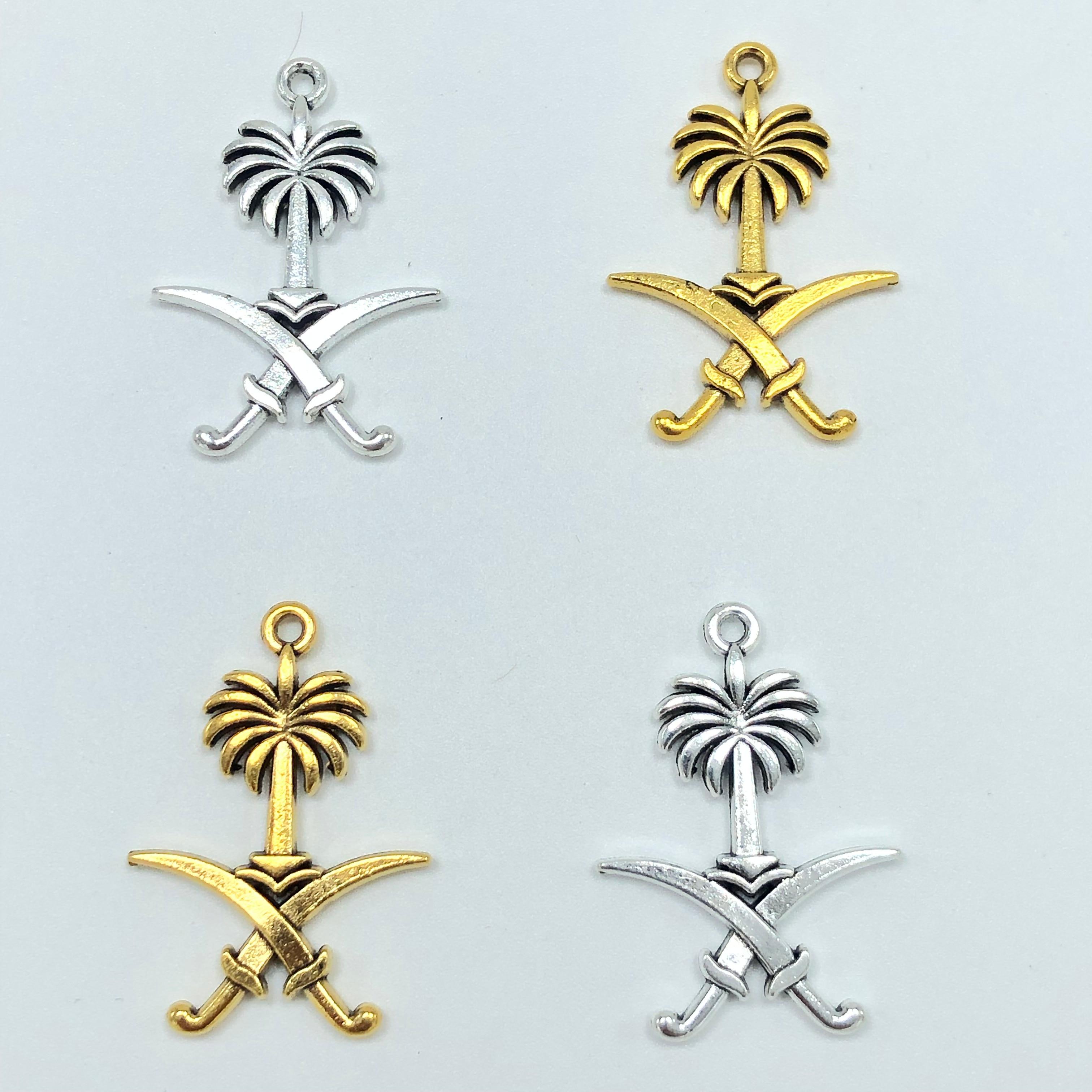 10pcs 22mm*31mm Popular Saudi Arabia National Emblem Pendant Muslim Tassel DIY Handmade Bracelet Necklace Jewelry Findings