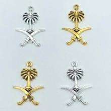 Pendentif emblème national saoudien, pendentif musulman, collier, bricolage fait à la main, découverte de bijoux, 10 pièces 22mm * 31mm