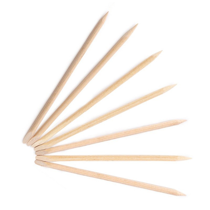 100pcs/lot Nail Art Design Orange Wood Stick Cuticle Pusher Remover for Manicures Care