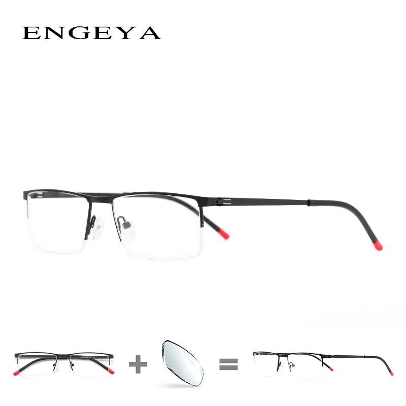 Сплав очки Для мужчин ясно Половина очки Модные прозрачные оптический рецепт очки для компьютера # IP8047