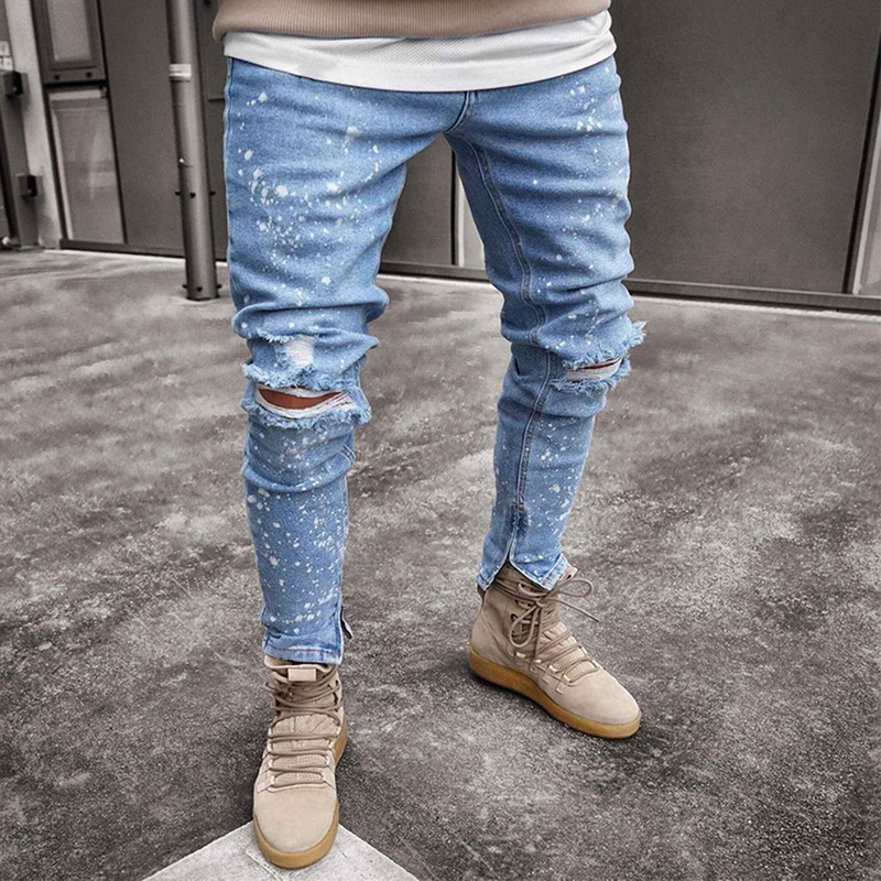 Litthing Mens Casual Ripped   Jeans   Street Style Hole Slim Fit Tapered Leg Denim Snowflakes With Hole Full Length Skinny   Jeans