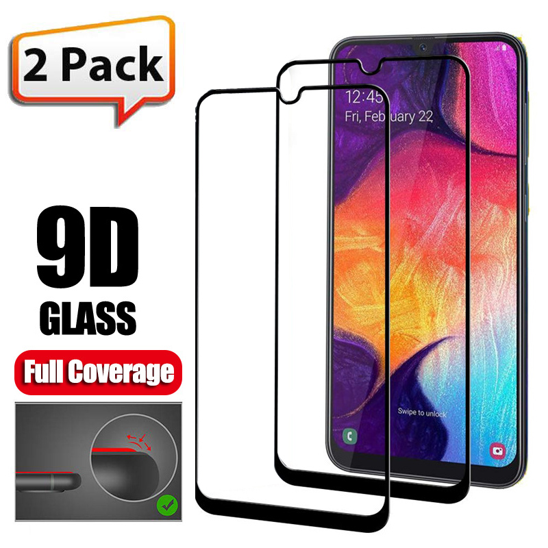2Pcs 9D Tempered Glass For Samsung Galaxy A50 A70 A40 A <font><b>30</b></font> <font><b>10</b></font> 20 60 80 90 Screen Protector M30 M10 20 40 Protective Glass Film image