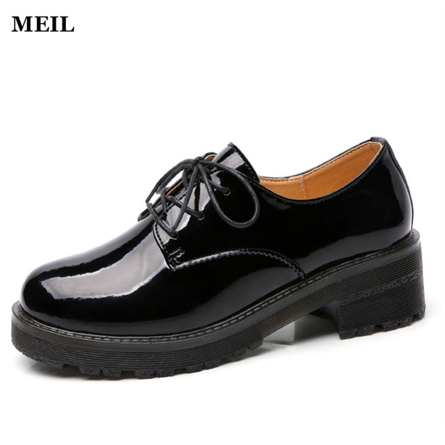 2017 Genuine Leather Women Shoes Lace up Low Heels Round Toe Patent Leather Black  Oxfords Women