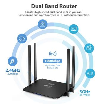 EASYIDEA Wifi Router AC 1200Mbps Wireless Router 2.4G 5Ghz Dual Band Wifi Repeater 4 Antenna Router Wi-fi Access Point Smart APP