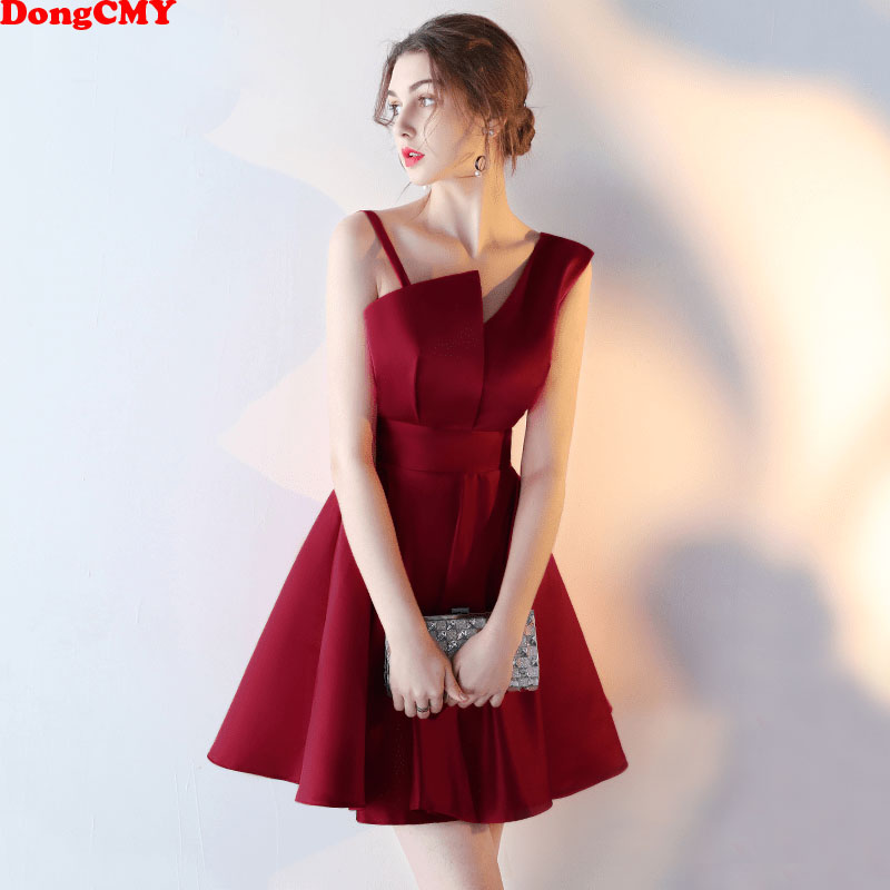 DongCMY 2019 New Arrival short Plus size   Cocktail     Dress   Wine Red Slim Party   Dress   Vestidos Simple Gown
