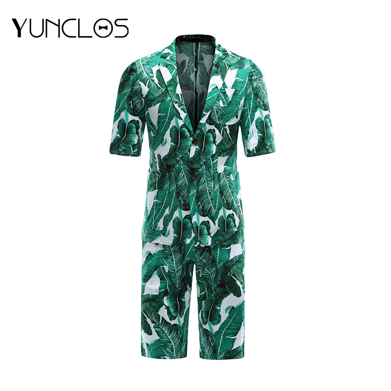 YUNCLOS New Fashion <font><b>Men</b></font> <font><b>Short</b></font> Sleeve <font><b>Suits</b></font> Summer Slim Fit <font><b>Suits</b></font> <font><b>Men's</b></font> Holiday Wears Fashion Printed <font><b>Suit</b></font> Blazers and <font><b>Shorts</b></font> image