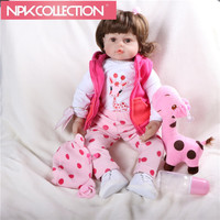 Latest New 58cm Silicone Reborn Baby Dolls Boneca Reborn Realista Fashion Dolls Princess Children Birthday Gift