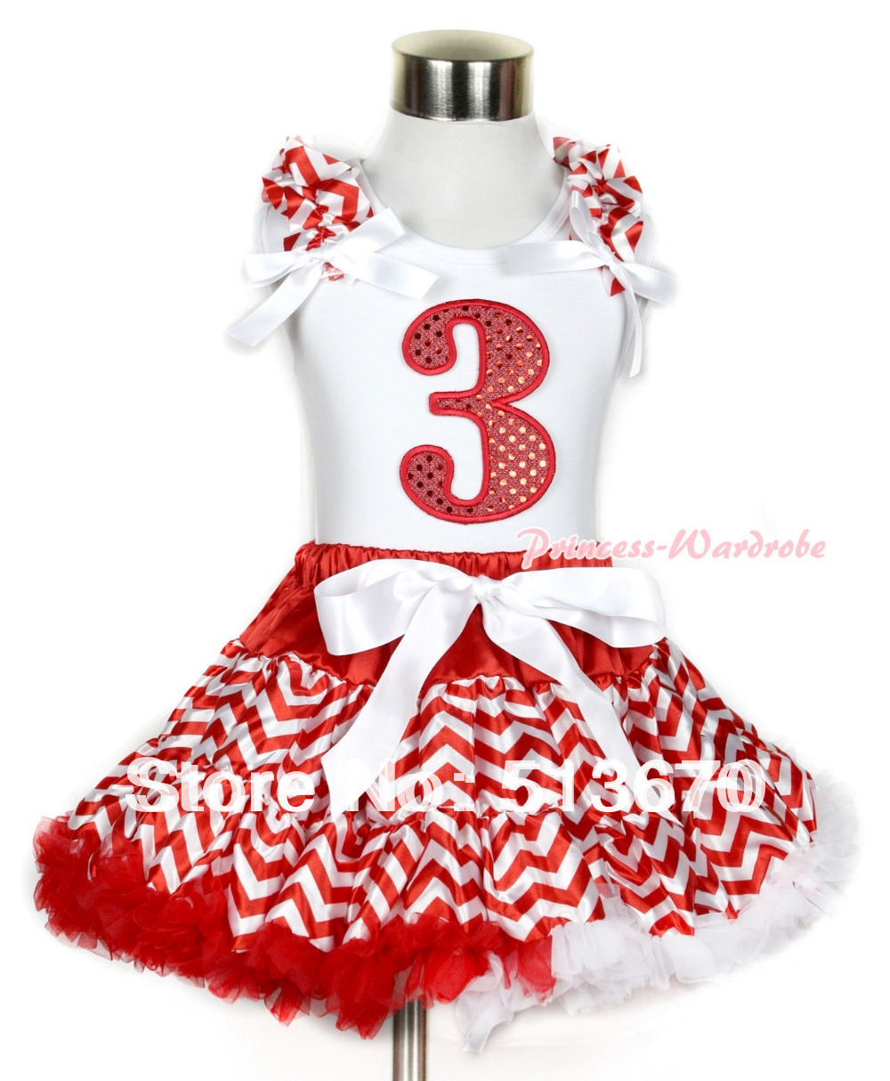 Xmas White Tank Top 3rd Sparkle Red Birthday Number Red White Wave Ruffles & White Bow & Red White Wave Pettiskirt MAMG748 red black 8 layered pettiskirt red sparkle number ruffle red bow tank top mamg575