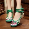 Новый Старый Пекин женщин Холст вышивка Обувь Китайский Плоский Каблук С Цветком Вышитые Мягкие Танцевальная Обувь Для Ходьбы Плюс Размер 41