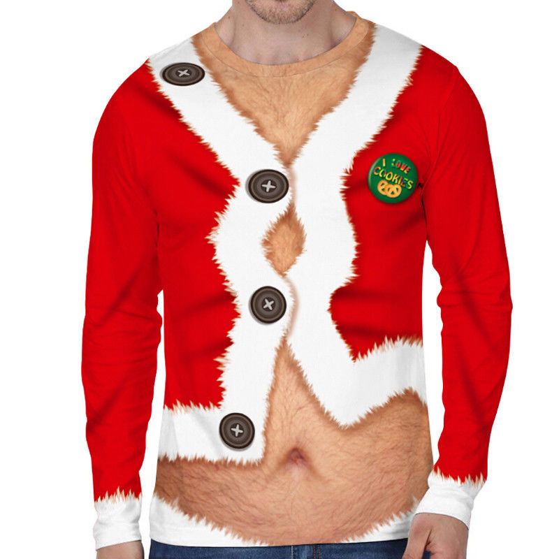 Men's Christmas 3D Printing Long Sleeve Casual T-Shirt Tops Tee Xmas Shirts 2019 Fashion Pop Male Funny T-Shirts Christmas Gift