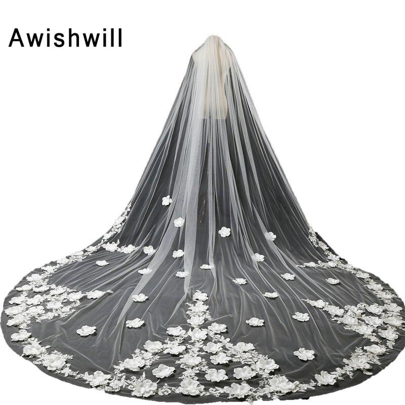 Voile de mariée blanc ivoire de 5 mètres de Long avec peigne dentelle et fleurs embellissement cathédrale voiles de mariage accessoires de mariage
