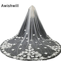 White Ivory 5 Meters Long Bridal Veil With Comb Lace and Flowers Embellishment Cathedral Wedding Veils Wedding Accessories