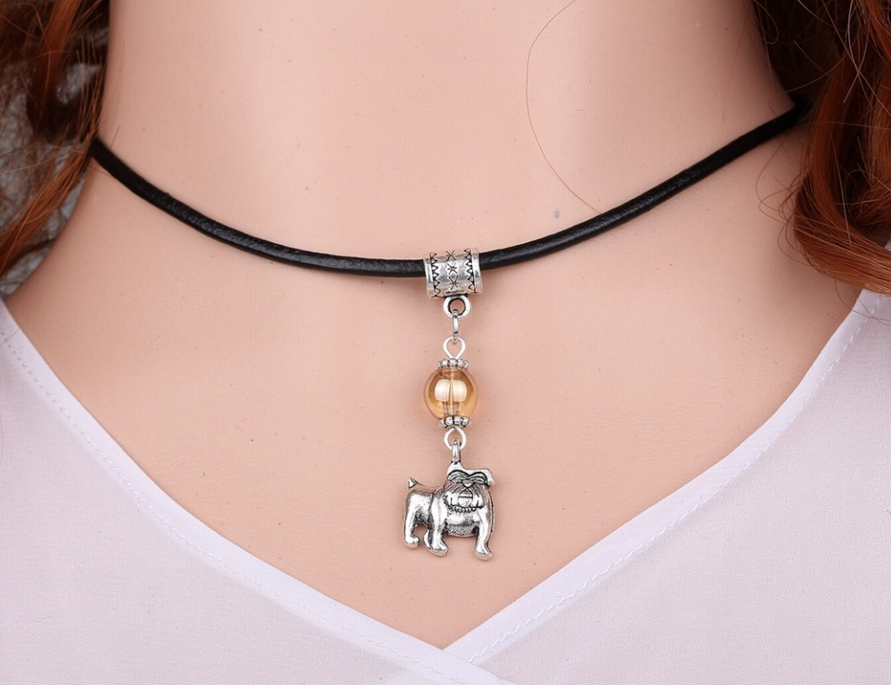 Bulldog Dog &Glass Bead Charms Vintage Silver Choker Collar Leather Necklace Pendant DIY Jewelry Women Clothing Brand HOT A123