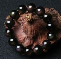 14mm 100% Genuine Natural Black Obsidian Bracelet Rainbow Light Gemstone Round Beads Stretch Bracelets For Man Lady AAAAA