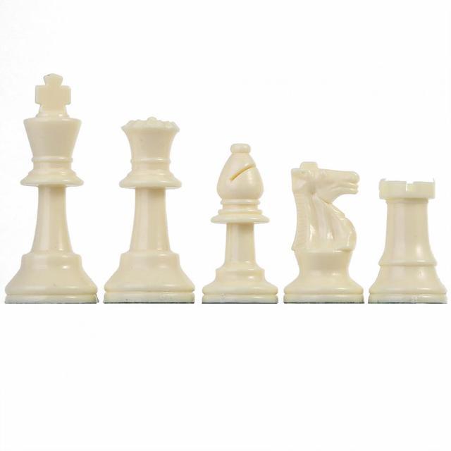 32 pièces d'échecs médiévales noir et blanc complet 64/77mm plastique  3