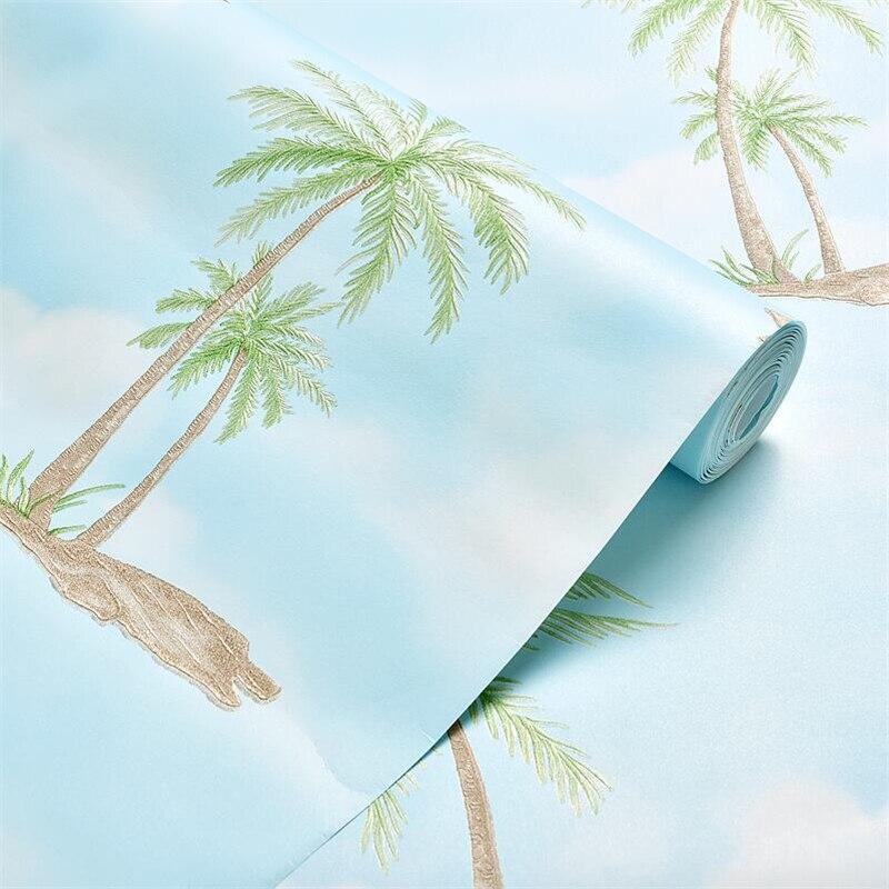 Beibehang style Tropical cocotier papier peint fond mur lumière 3d non-tissé papier peint chambre salon TV papier peint