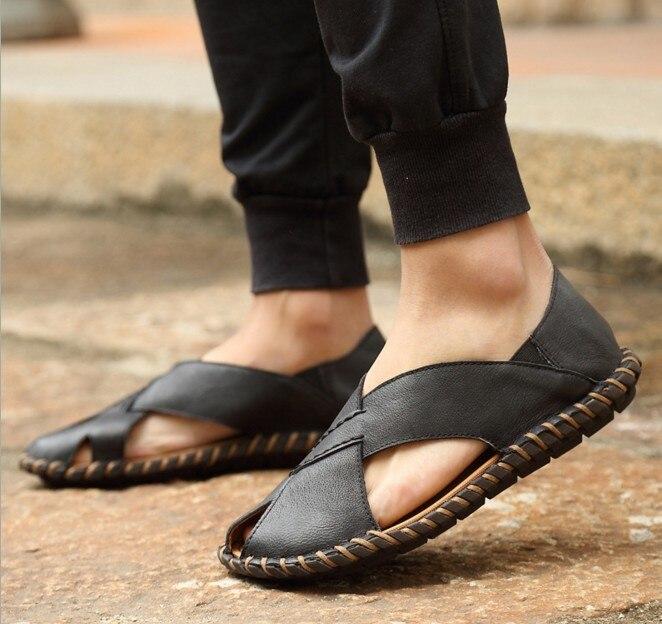 brown Cuir HommesÀ Pour D'été Gladiateur black Sandales De Véritable Hommes Khaki La Pantoufles Couture En Chaussures Rétro Plage Main Nouvelle Arrivée Classiques LA54Rj3q