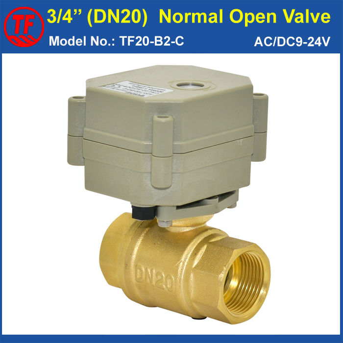 DN20 Normal Open Valve AC/DC9 24V Power Off Return 2 Wires 3/4'' Full Port Electric Shut Off Valve For Water Application