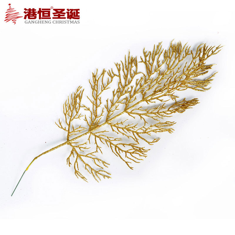 40 15 cm christmas leaves decoration gold cinnamon metal for Decoration leaves
