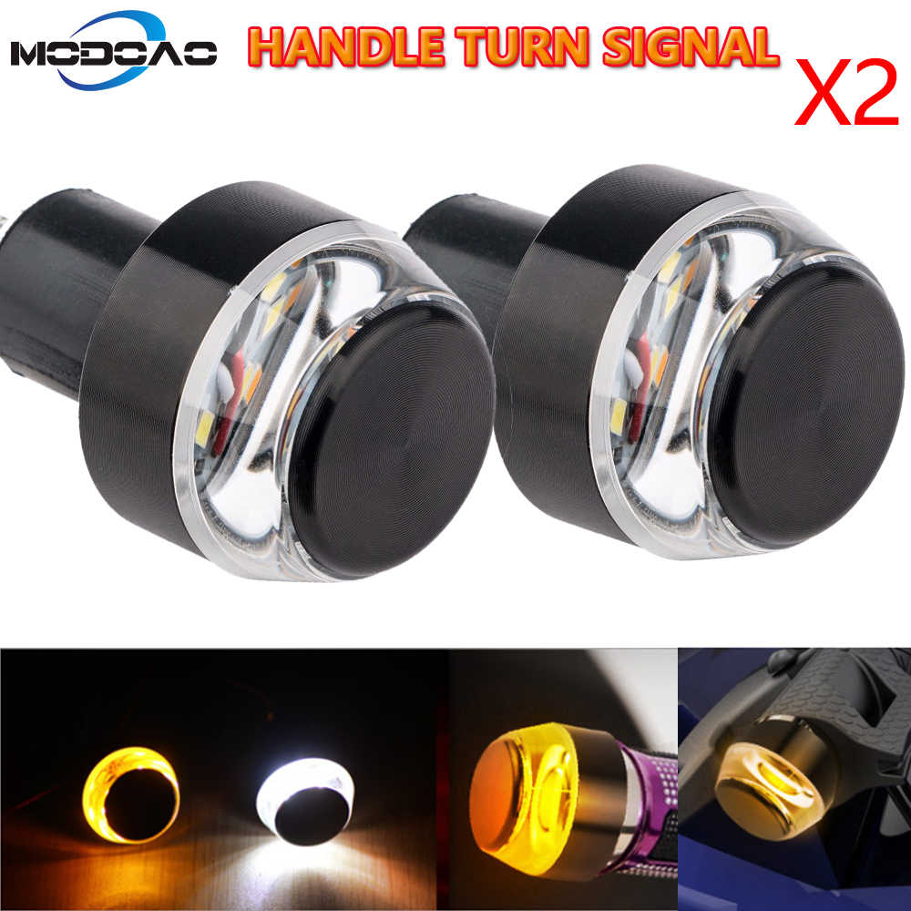 12V LED Motorcycle Handlebar End Turn Signal Light Yellow Universal 22mm Indicator Flasher Handle Bar Blinker Side Marker Lamp