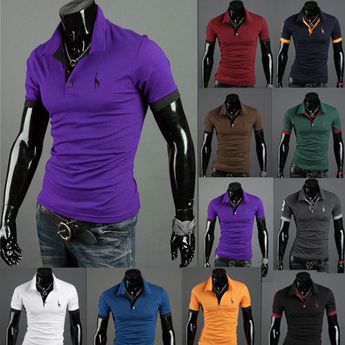 Men's Polo Multi-Color Deer High Quality Cotton Polo Shirt Men's Short Sleeve Slim Business Casual Solid Fit Tops 9