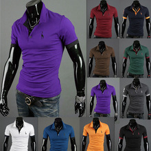 Summer Men's Polo Multi-Color Deer Polo Shirt Men's Short Sleeve Slim Fit Tops