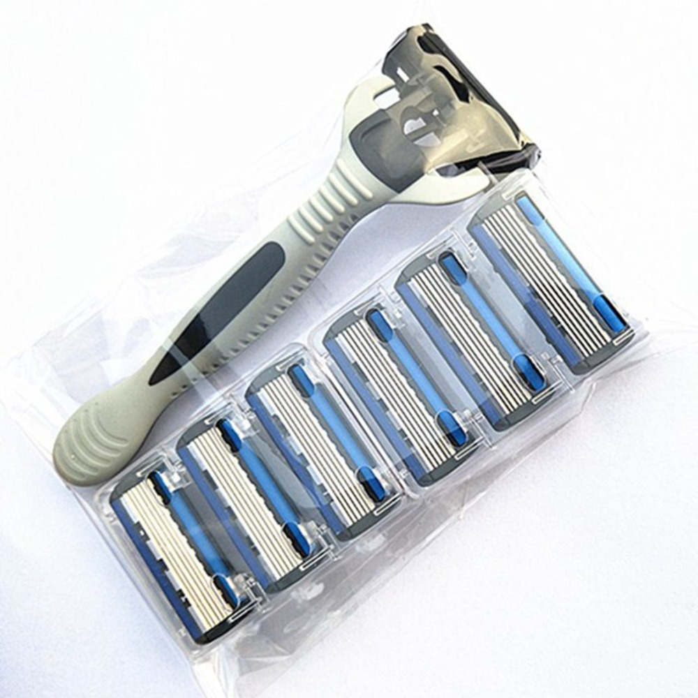 6-Layers Shaver Razor=(1 Razor Holder + 7 Blades Head) Cassette Shaving Razor Set Blue Body Face Hair Removal Knife Women Men