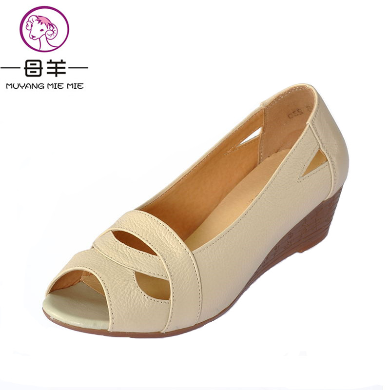 где купить Plus Size(35-43) 2018 Summer Women Shoes Woman Open Toe Genuine Leather Wedges Sandals Casual Platform Sandals Women Sandals по лучшей цене