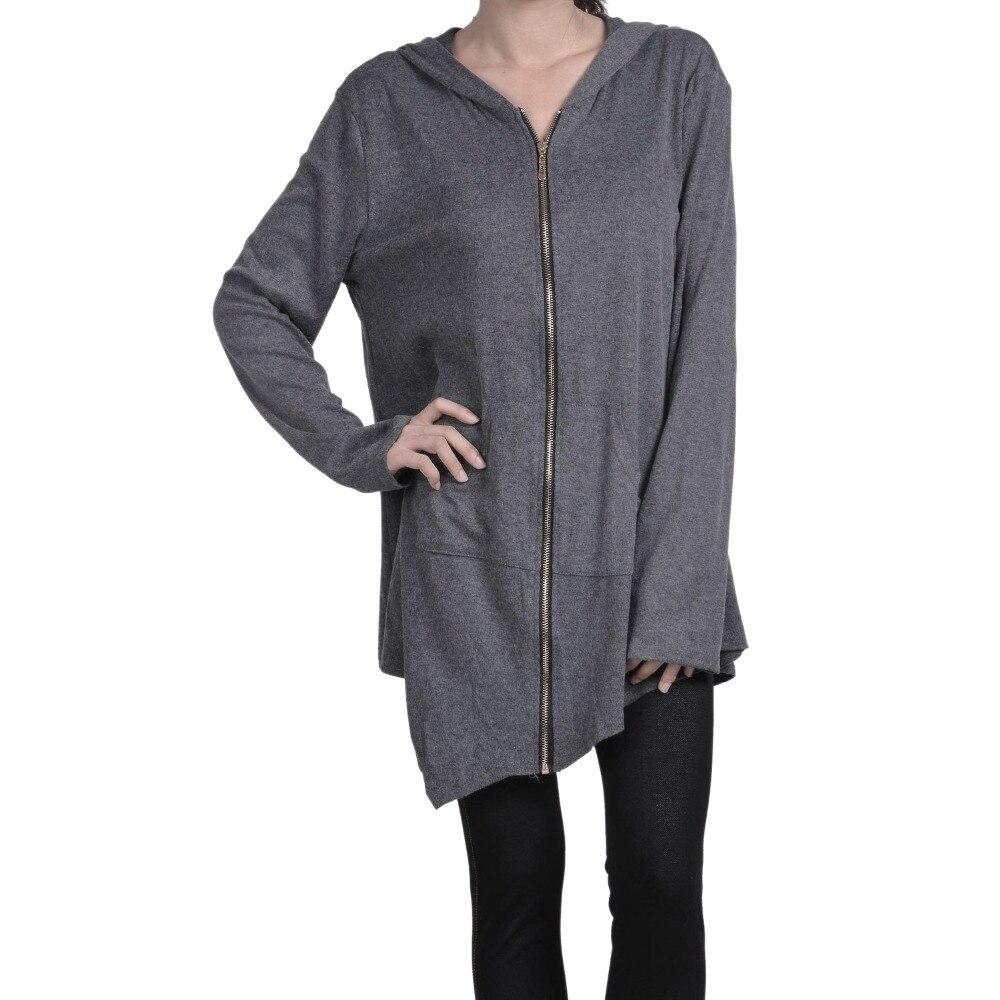 2018 Autumn Hooded Long Sleeve Zip Sweatshirt Hoodies Coat Women Solid Long Casual Jacket Irregular Hem Black Outwear Plus Size