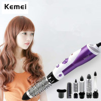 Kemei 7 in 1 Multifunction Hair Dryer Hairdryer Brush Hair Curler Wand Straightener Curling Iron Salon Styling Equipments KM 585