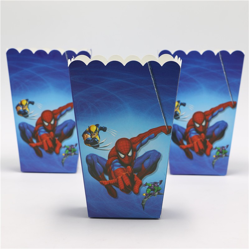 <font><b>Spiderman</b></font> Paper Popcorn <font><b>Cups</b></font> Happy Birthday Party Decoration Kids Favors Gifts Boxes Baby Shower Supplies 6pcs\lot