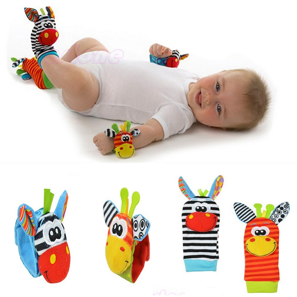 1pc Infant Baby Kids Boy Cute Animal Hand Wrist Bells Foot Sock Rattles Soft Toys