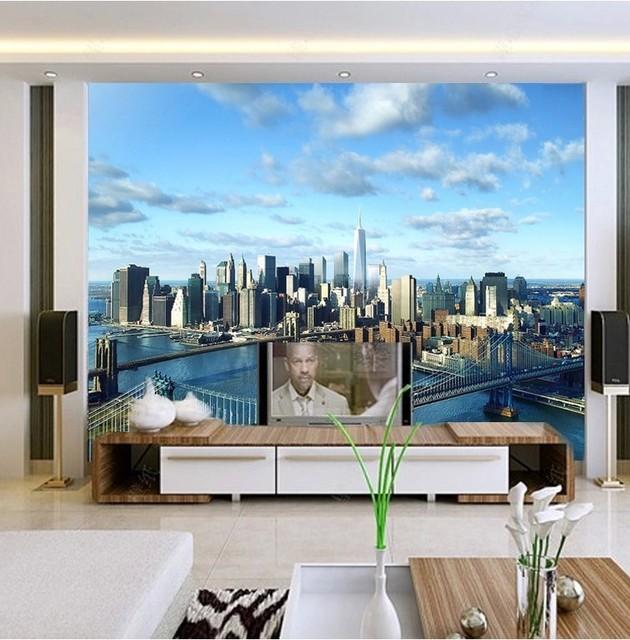 Beibehang 3d Fotowand Papier Hochwertige Moderne Architektur New York City World Vision Entwicklung Mural Tapete