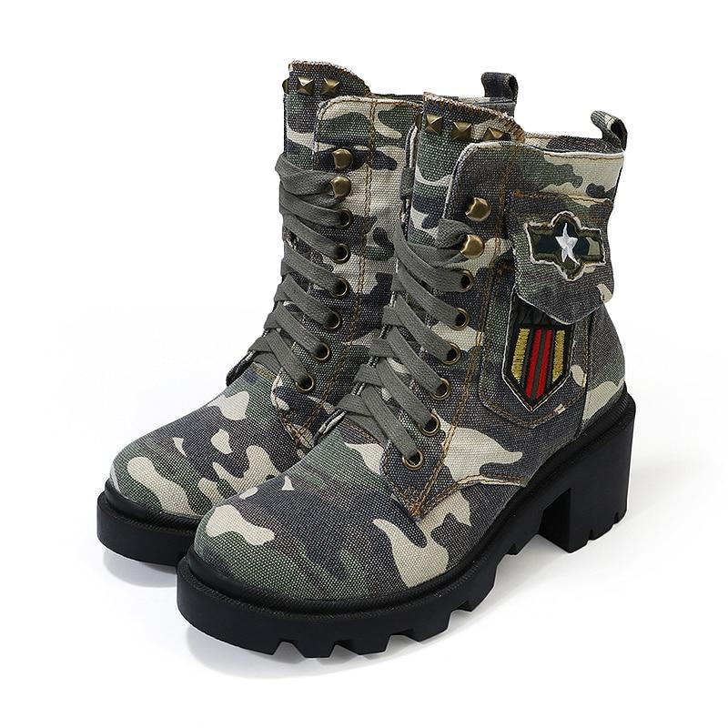 Épais Chaud À Avec 2 Hauts Femmes Cheville Chaussures Bottes camouflage Talon Talons Camouflage up Camouflage Dentelle Peluche Plate forme Étudiants XwgqAA