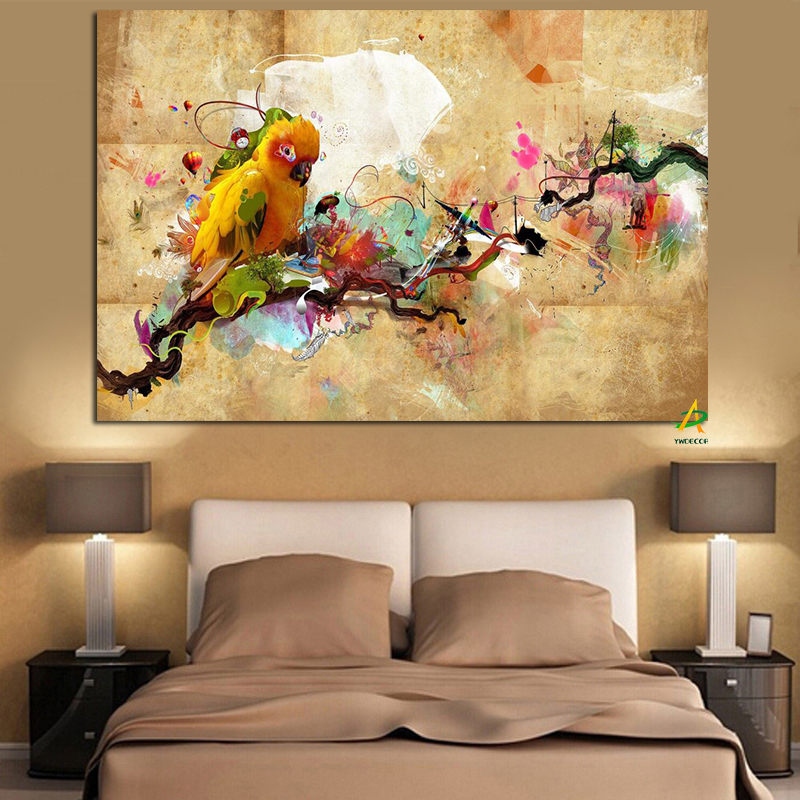 Ywdecor Hd Print Artistic Paint Parrot Bird Oil Painting On Canvas Modern Abstract Wall Painting