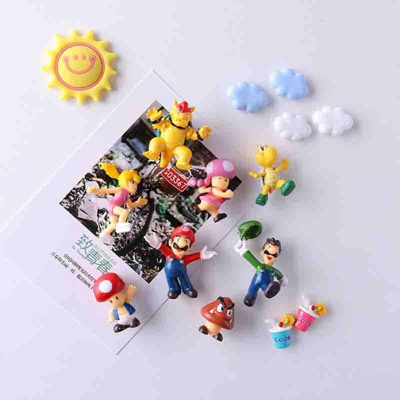 New 8/19pcs 2019 Arrival 3D Super Mario Bros Fridge Magnets  Message Sticker Adult Man Girl Boy Children Toy Birthday Gift