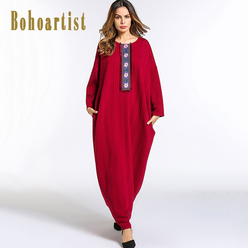 Bohoartist Women Knitted Maxi Dress Floral Print Muslim Long Sleeve Loose Large Size Middle East Gown Patchwork Lantern Dresses