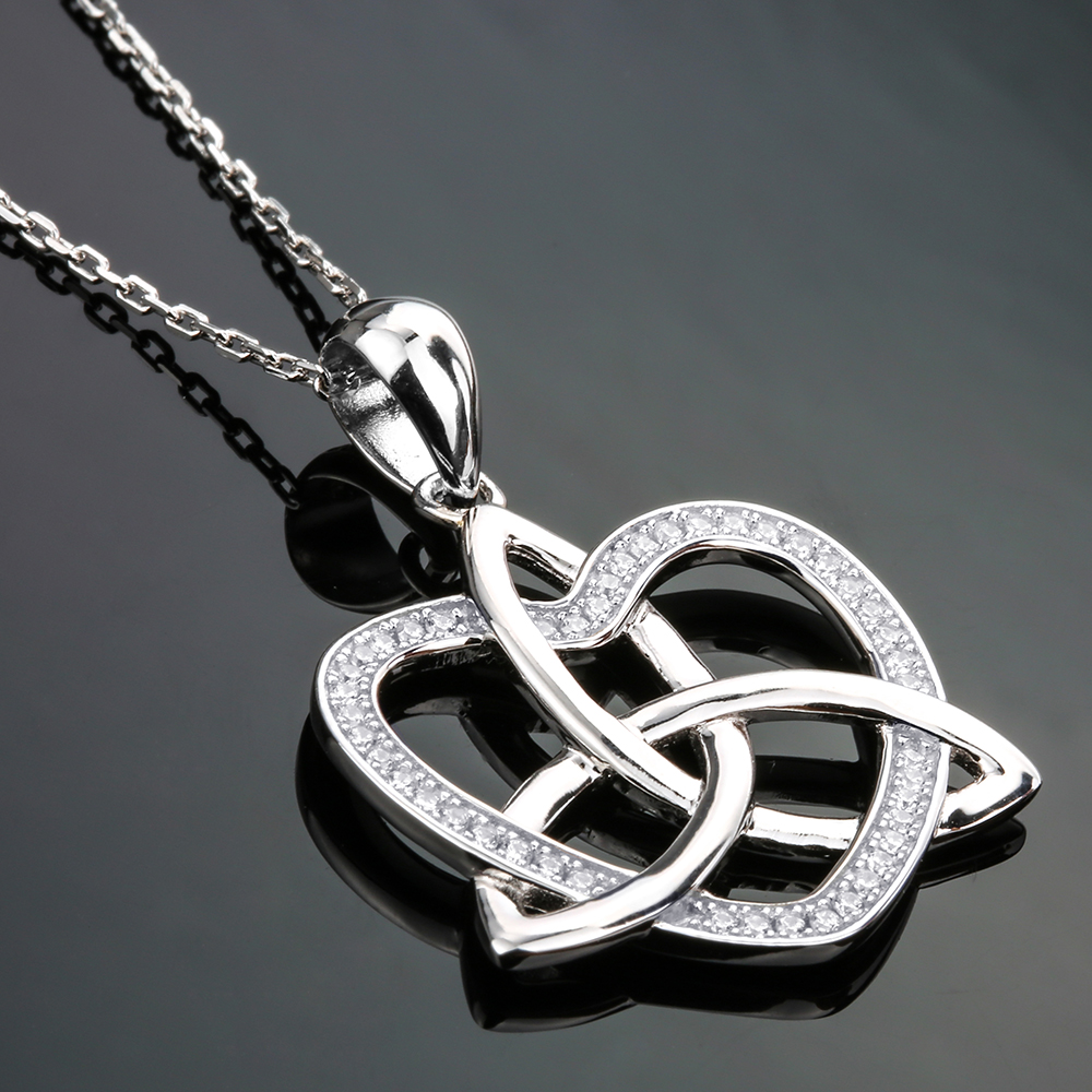 Aliexpress buy 925 sterling silver love heart cubic zirconia aliexpress buy 925 sterling silver love heart cubic zirconia girls silver pendants necklaces chain jewelry celtic knot necklace women 2018 from aloadofball Image collections