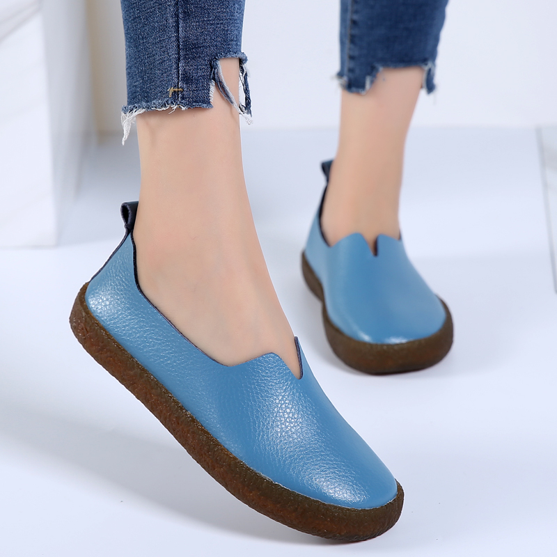 Designer Genuine Leather Women Flats Shallow Loafers Summer Casual Shoes Round Toe Ballerina Zapatos Mujer Size 35-43 new shallow slip on women loafers flats round toe fishermen shoes female good leather lazy flat women casual shoes zapatos mujer
