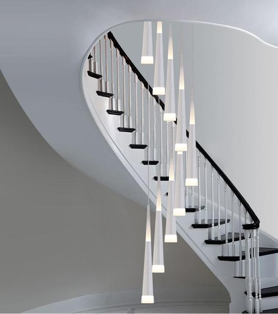 Moderne Long Led Cône Pendentif Lumières Pour Cage D\'escalier Salon ...
