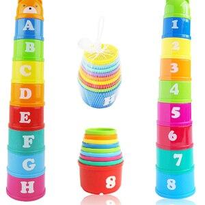 Image 1 - 8 Uds juguetes educativos para bebés 6 meses + figuras letras Foldind vaso apilable Tower niños inteligencia temprana