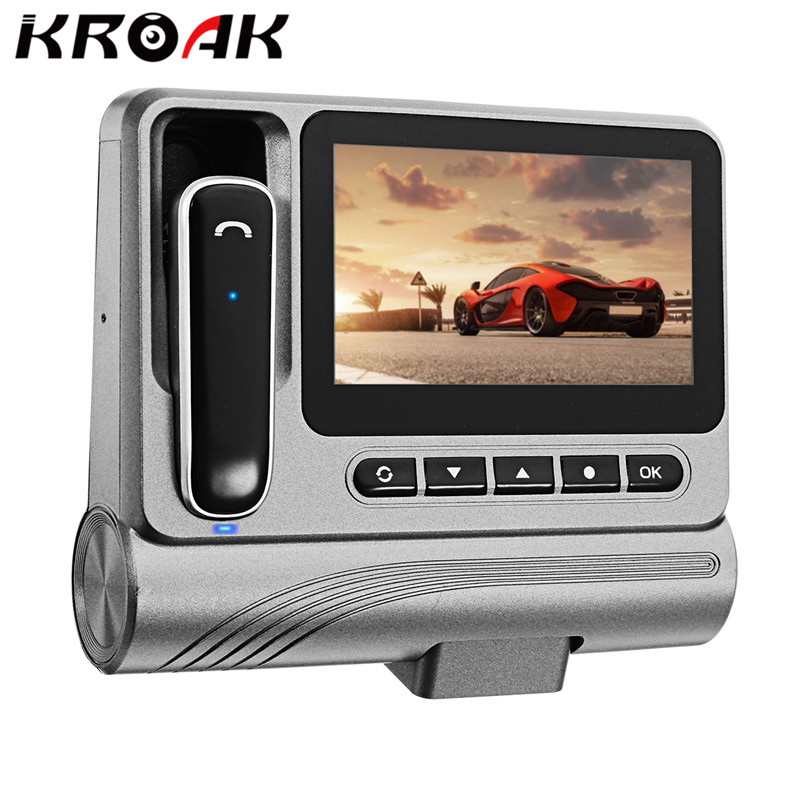 KROAK Novatek 96223 FHD 1080P 3.0 Inch Car DVR With Bluetooth Earphone Dash Cam HD Video Recorder Night Vision