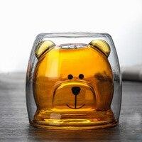 Креативная чашка с медведем 200 мл, стеклянная чашка с двойными стенками для воды, винный сок, кофе, чай, хороший для дом, офис, бар вечерние под