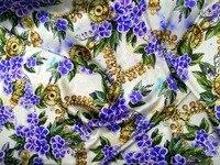 פרחים ויולט Telas חדש מותג בדי הדפסת בד משי סאטן למתוח משי תות בד מכירה חמה סיטונאי שמלת Cheongsam