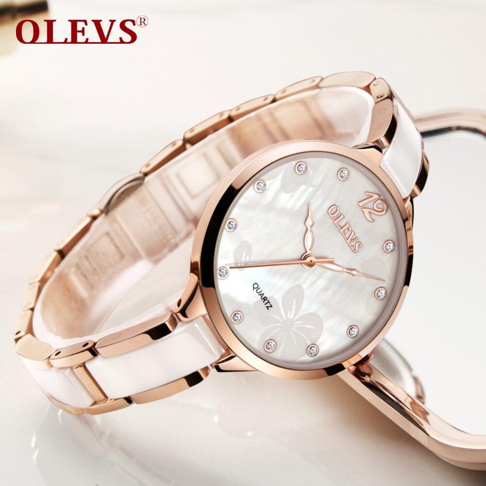 Фото OLEVS Brand Women Clock Ceramic Watches Diamond Ladies Bracelet stainless steel  Watches Rose Gold Rhinestone Quartz Watch2018