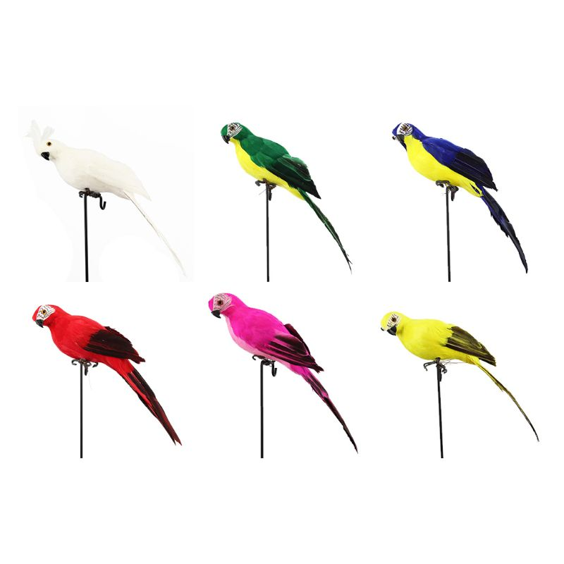 OOTDTY 1 PC Multi-Color Artificial Feather Parrot Resin Statue Simulation Bird Home Garden Decoration Toy
