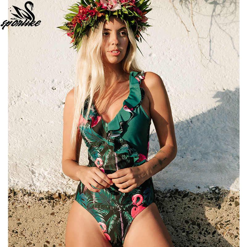 Duży rozmiar 2019 Sexy głębokie V jednoczęściowy strój kąpielowy kobiet kobiety w stylu Vintage Retro stroje kąpielowe wysoka Neck bandaż wzburzyć Backless monokini