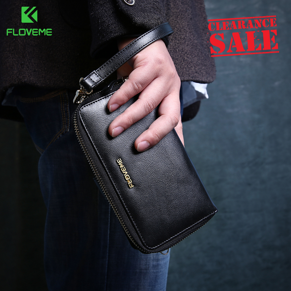 FLOVEME Luxury Large Capacity Leather Wallet Case Long Purse Zipper Money Bag Casual Retro Vintag Purse Wallet For iPhone 7 X